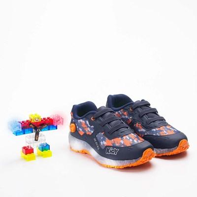 Tênis Infantil Masculino Blocks Marinho e Laranja com brinquedo