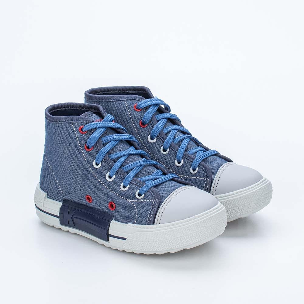 Tênis Infantil Masculino Kidy Eco Sustentável Azul Jeans e Vermelho