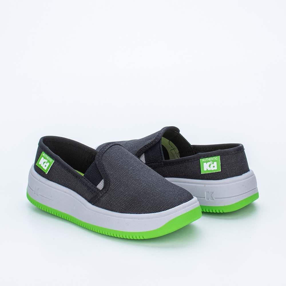 Tênis Infantil Masculino Kidy Eco Sustentável Preto e Verde Neon