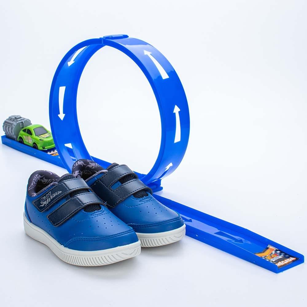 Tênis Infantil Masculino Kidy Looping Azul Royal e Marinho  com brinquedo