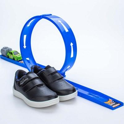 Tênis Infantil Masculino Kidy Looping Preto e Azul Royal  com brinquedo