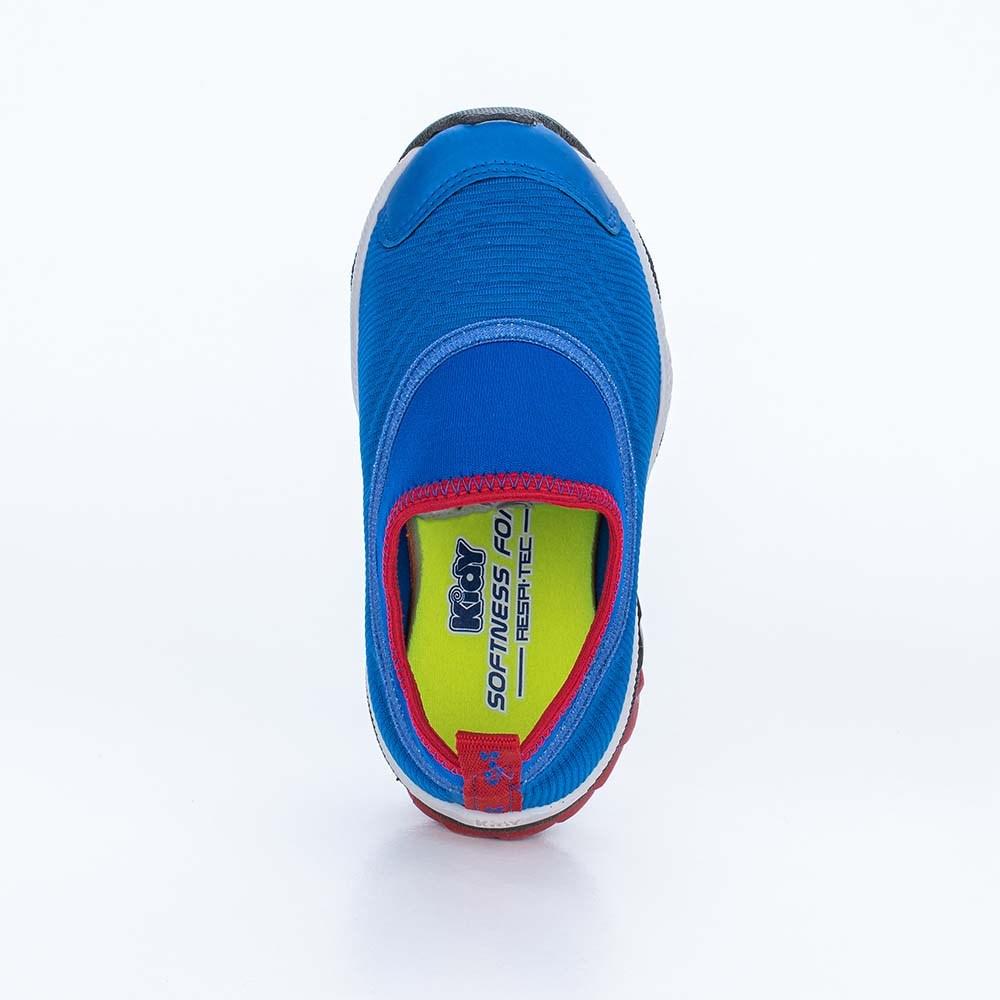 Tênis Infantil Masculino Kidy Play em Nylon Azul, Vermelho e Cinza