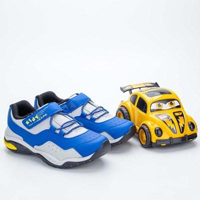 Tênis Infantil Masculino Kidy Play Respi-Tec Azul, Amarelo e Cinza  com brinquedo