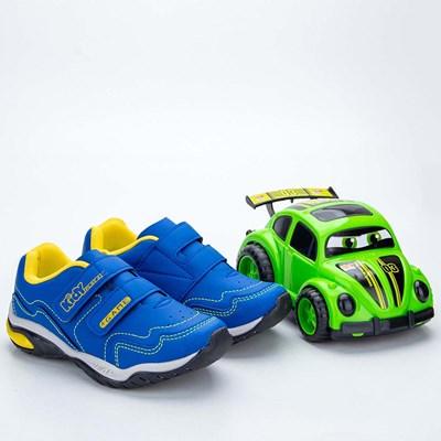 Tênis Infantil Masculino Kidy Play Respi - Tec Azul e Amarelo  com brinquedo