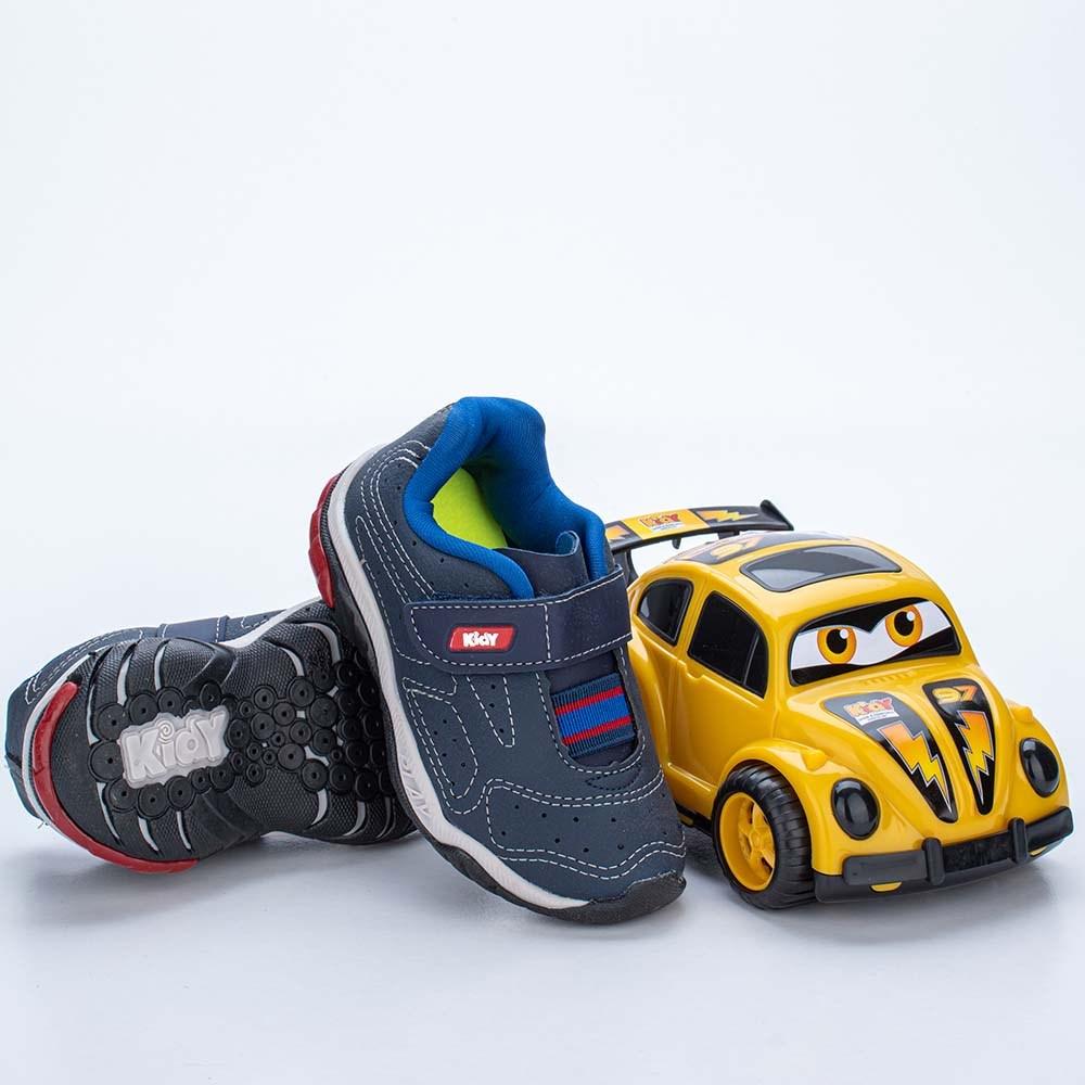 Tênis Infantil Masculino Kidy Play RespiTec Marinho, Azul Royal e Vermelho  com brinquedo