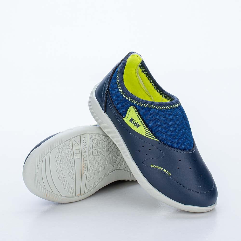 Tênis Infantil Masculino Usefull Kidy Marinho, Azul Royal e Amarelo Neon com Brinquedo