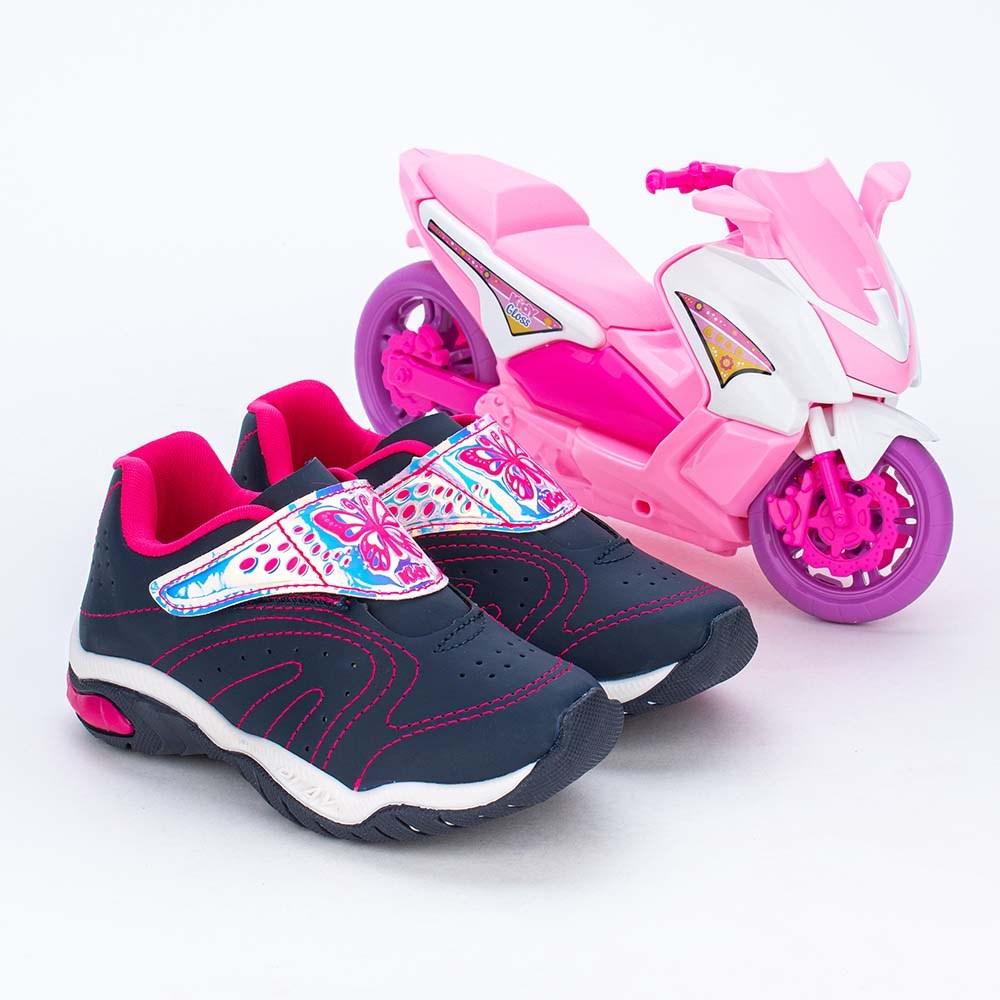Tênis Infantil Menina Kidy Play com Scooter Marinho e Pink