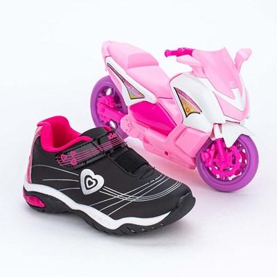 Tênis Infantil Menina Kidy Play com Scooter Preto e Pink