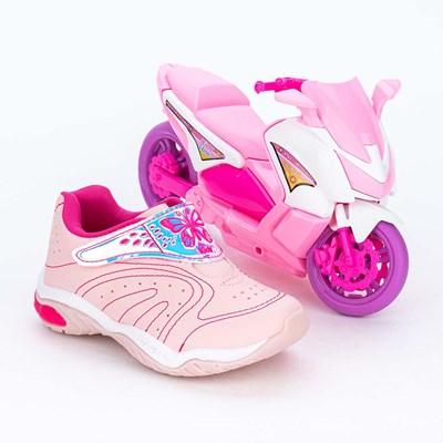 Tênis Infantil Menina Kidy Play com Scooter Rosa Nude e Pink