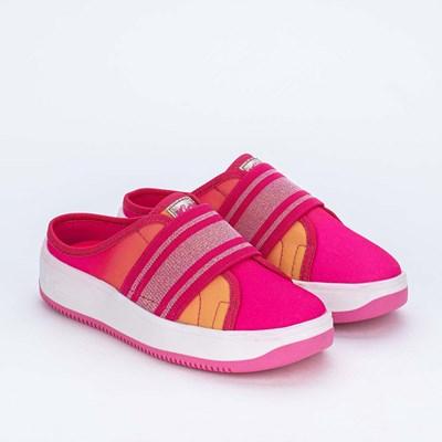 Tênis Mule Infantil Kidy Nova York de Lona Pink e Amarelo
