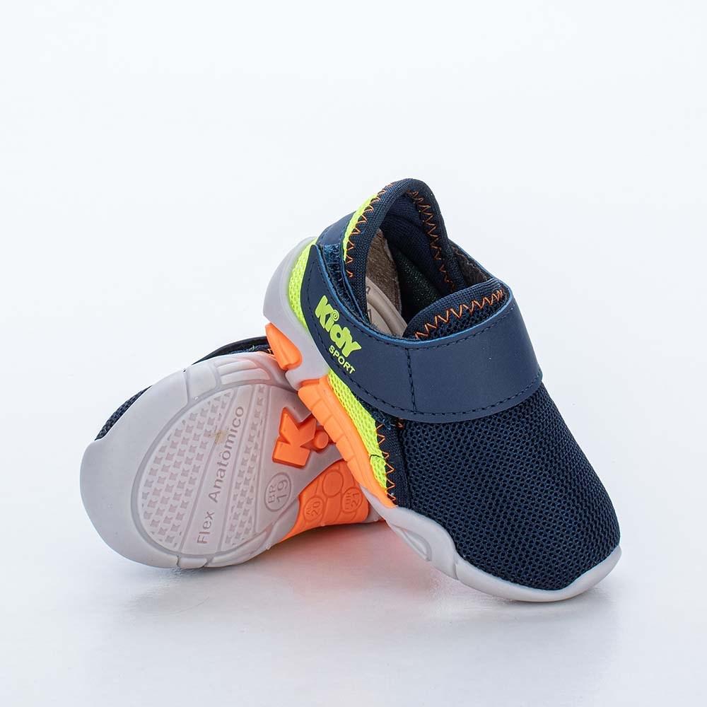 Tênis para Bebê Calce Fácil Colors Menino Marinho e Neon