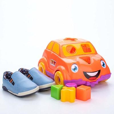 Tênis para Bebê Kidy Colors Azul e Marinho com Brinquedo