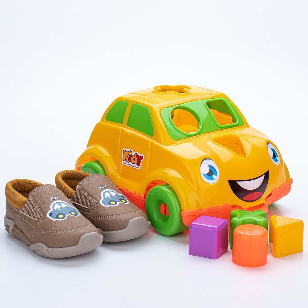 Tênis para Bebê Kidy Colors Camel com Brinquedo