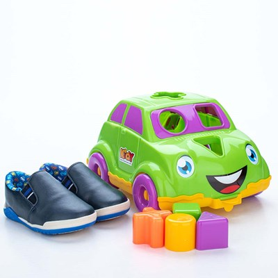 Tênis para Bebê Kidy Colors Marinho e Azul com Brinquedo