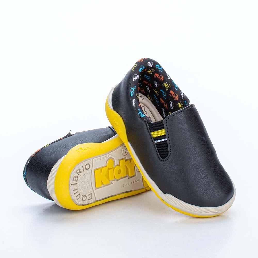 Tênis para Bebê Kidy Colors Preto e Amarelo com Brinquedo