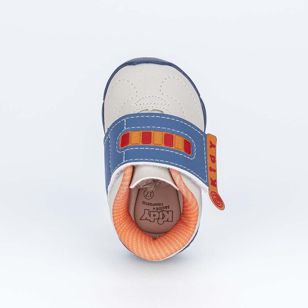 Tênis para Bebê Menino Kidy Colors Natural, Laranja e Azul