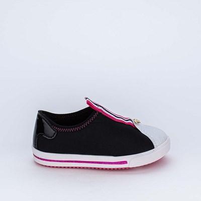 Tênis Primeiros Passos Love Menina Calce Fácil Preto e Pink