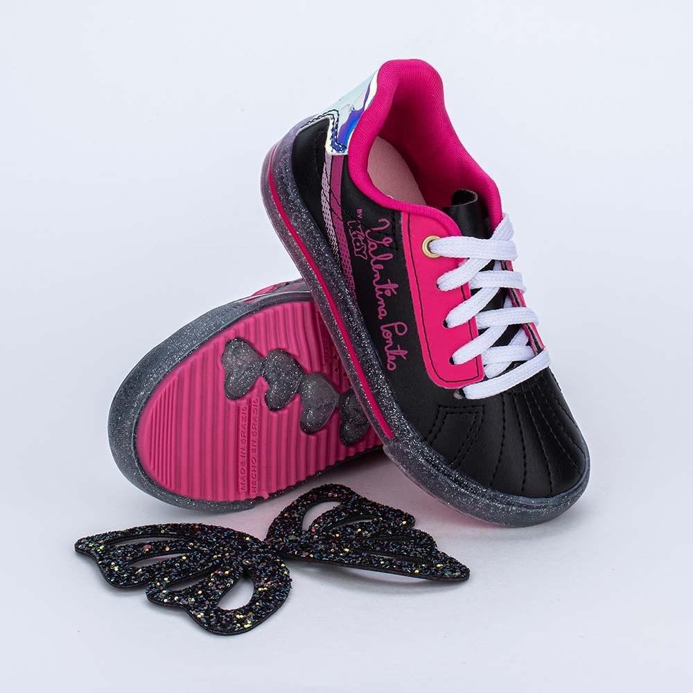 Tênis Valentina Pontes Asas para Pés Menores Preto e Pink