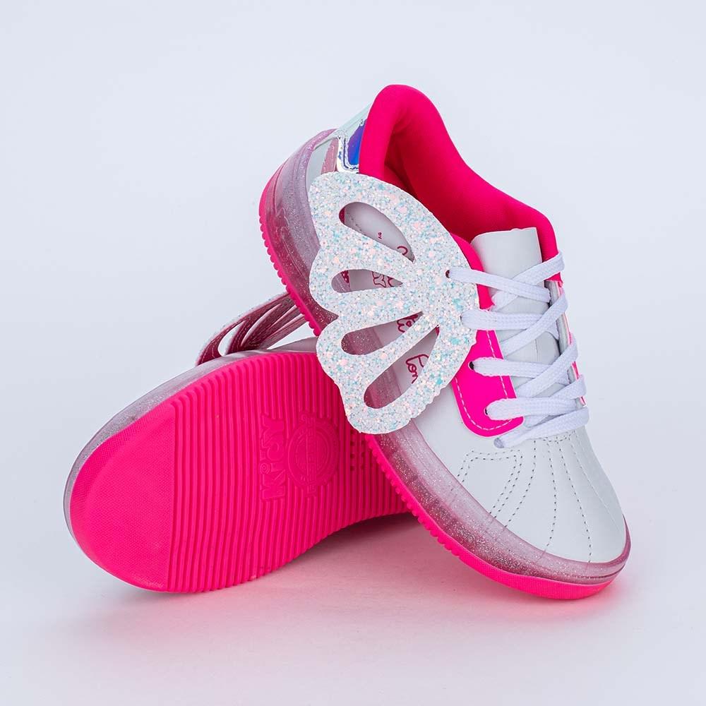 Tênis Valentina Pontes by Kidy Asas e Glitter Branco e Pink