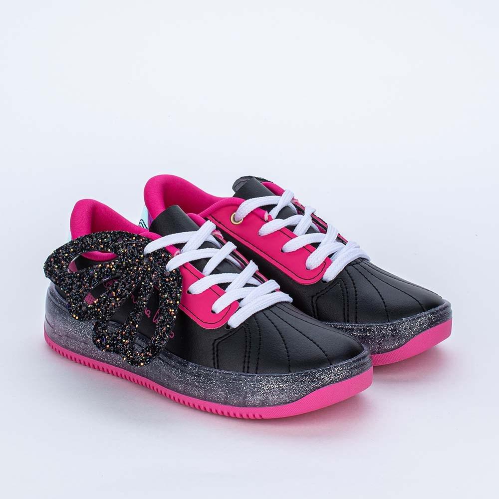 Tênis Valentina Pontes by Kidy Asas e Glitter Preto e Pink